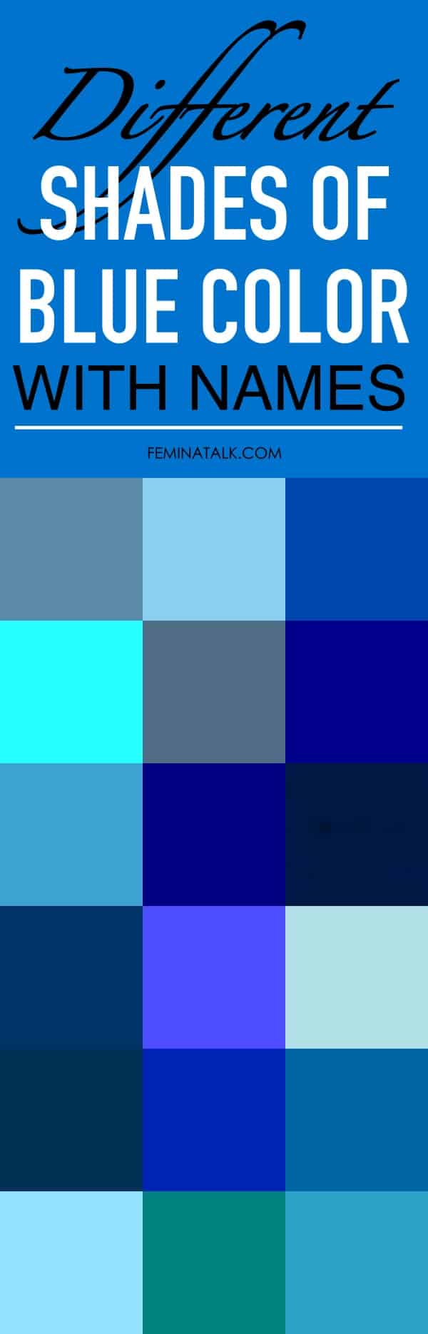 Different Shades of Blue Color with Names