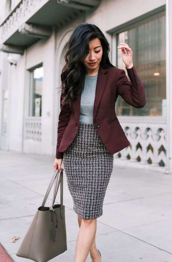 Blazer and skirt work outfits ideas