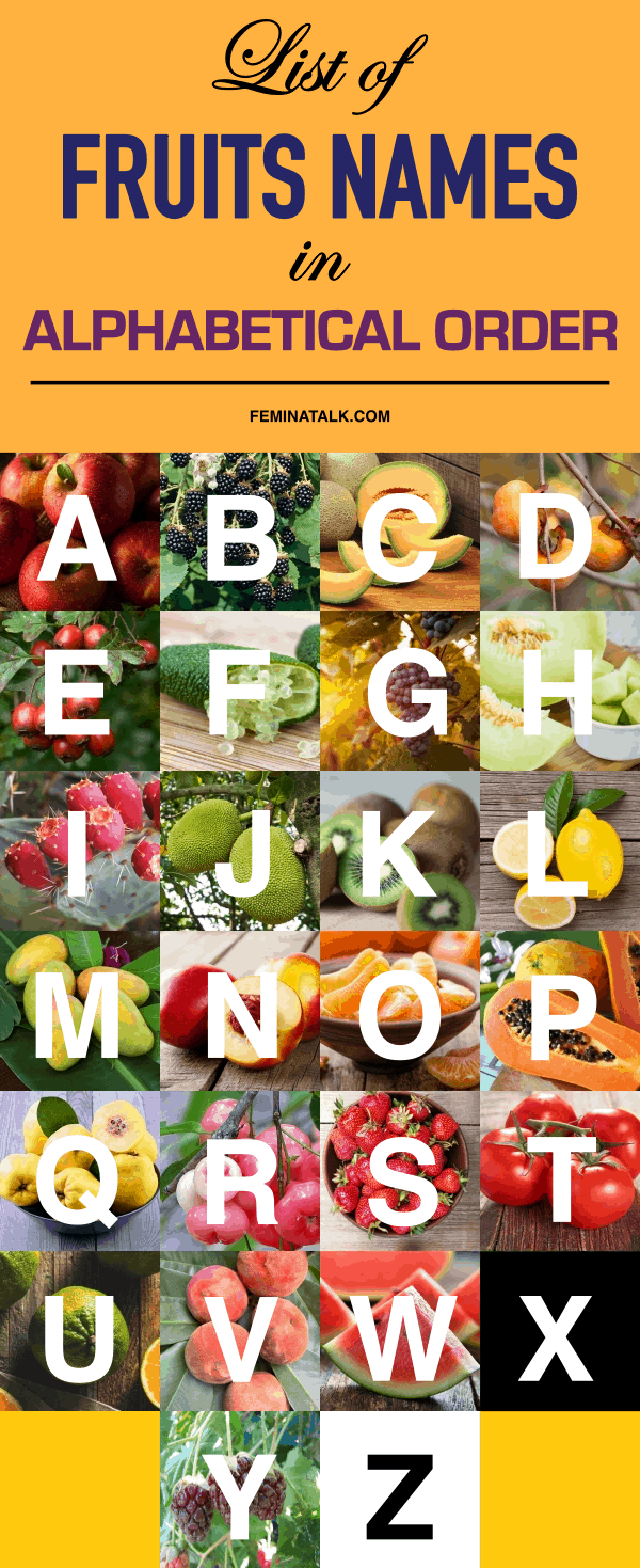 List of Fruits Names in Alphabetical Order