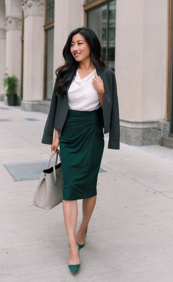 Blazer with pencil skirt outfit